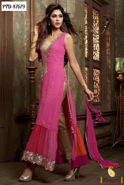 Diwali season special discount deals and offers on pink chiffon anarkali salwar suit online shopping 2015 at pavitraa.in