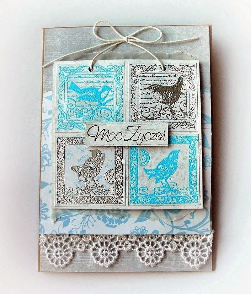 kartka stemplowana z ptaszkami