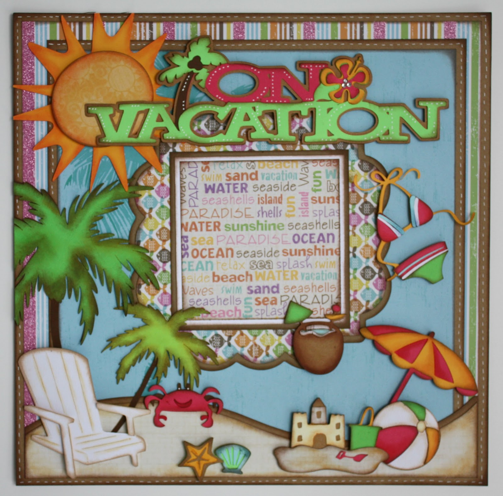 Summer vacation scrapbook ideas - I Created A Fun Scenic Beach Layout To Use As The Cover Page In A Beach Themed Vacation Album That I Am Creating This Is A Standard 12 X12 Single Page