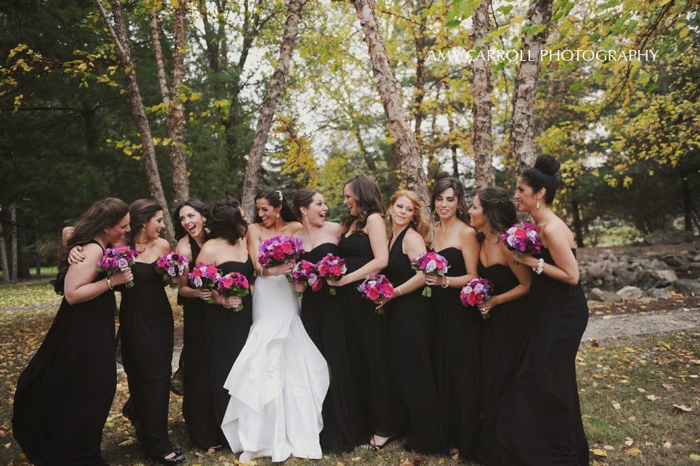 Full length black bridesmaids dresses pink and purple bouquets by Sweet Pea Floral Design www.sweetpfloral.com for Ann Arbor Earhart Manor UMMA wedding