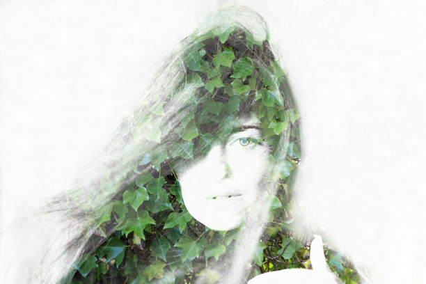 Double exposure of a girl and ivy