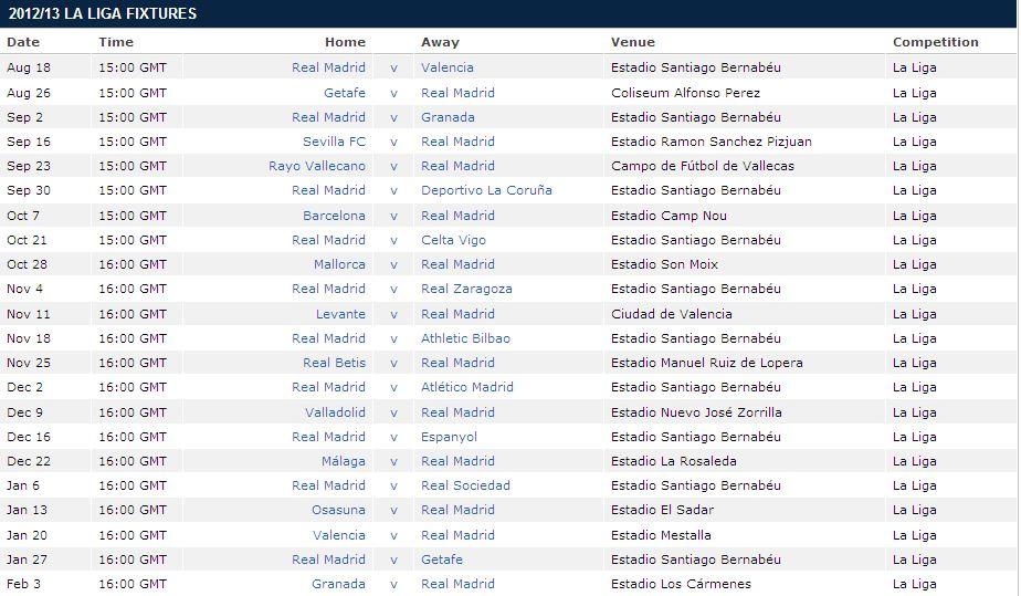 Real madrid c f blog real madrid 2012 13 la liga fixtures - Spain league table and fixtures ...