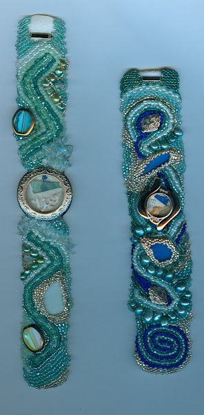 Beaded Cuffs #4 recycled watches filled with shells and sea glass