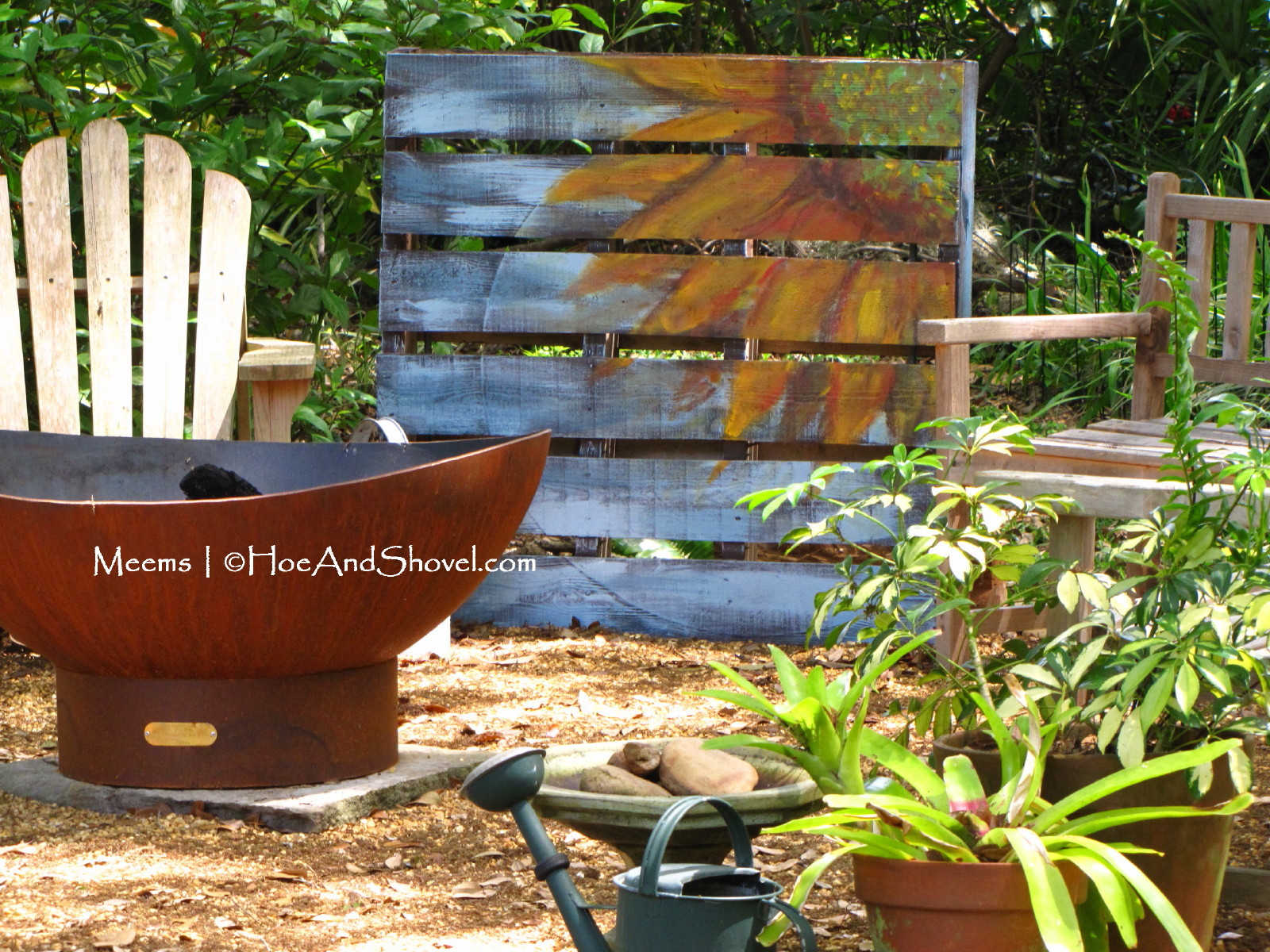 Hoe and shovel upcycled wooden pallet garden art upcycled wooden pallet garden art workwithnaturefo