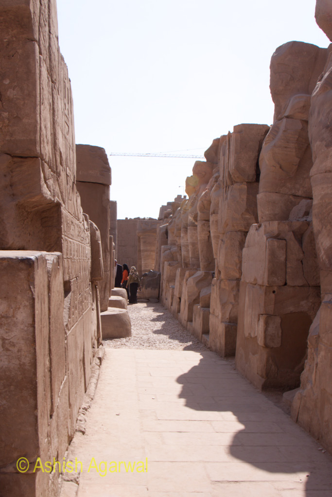 Long path inside the Karnak temple at Luxor, different from the Hypostyle Hall