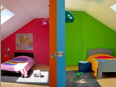 Dormitorio fucsia y verde