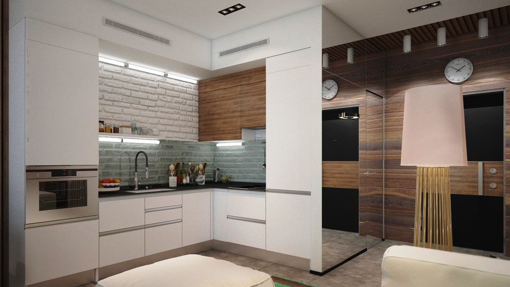 Dise o de cocina en apartamento de 25 m2 for Disenos de cocinas en l