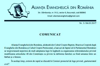† AER — Comunicat cu privire la inițiativa de instituționalizare a parteneriatului civil