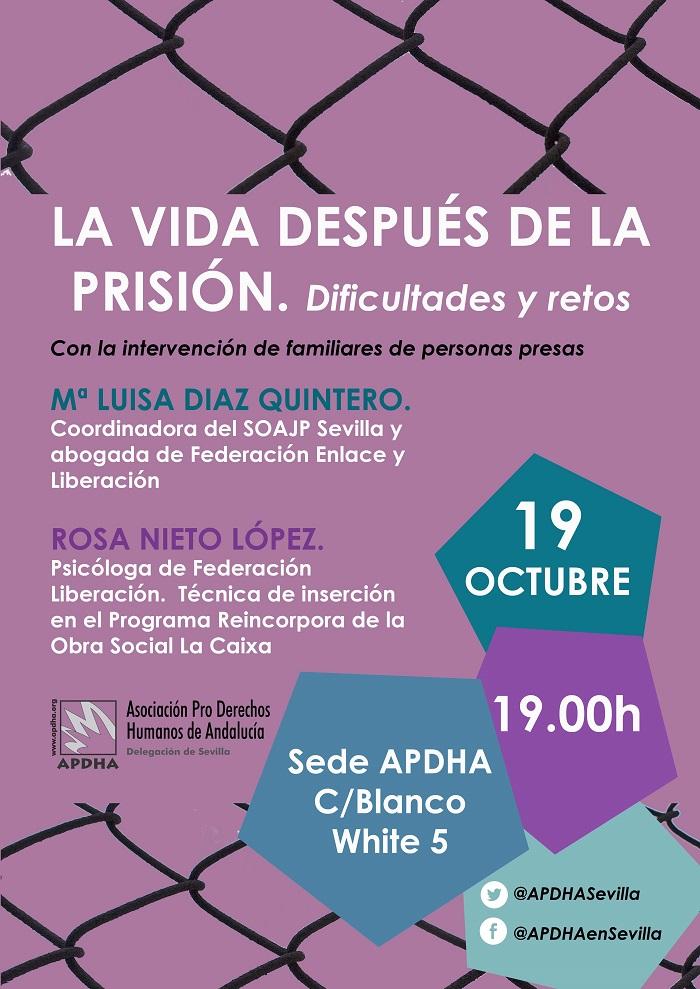 Jueves 19 Octubre, 19H: LA VIDA DESPUÉS DE LA PRISIÓN.Dificultades y retos.