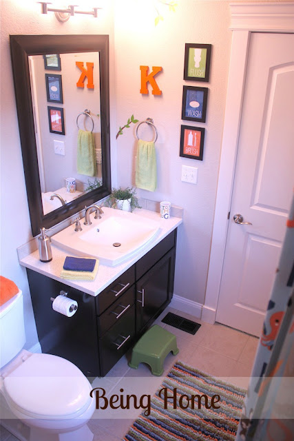 Boys Bathroom Makeover - After (sink area)