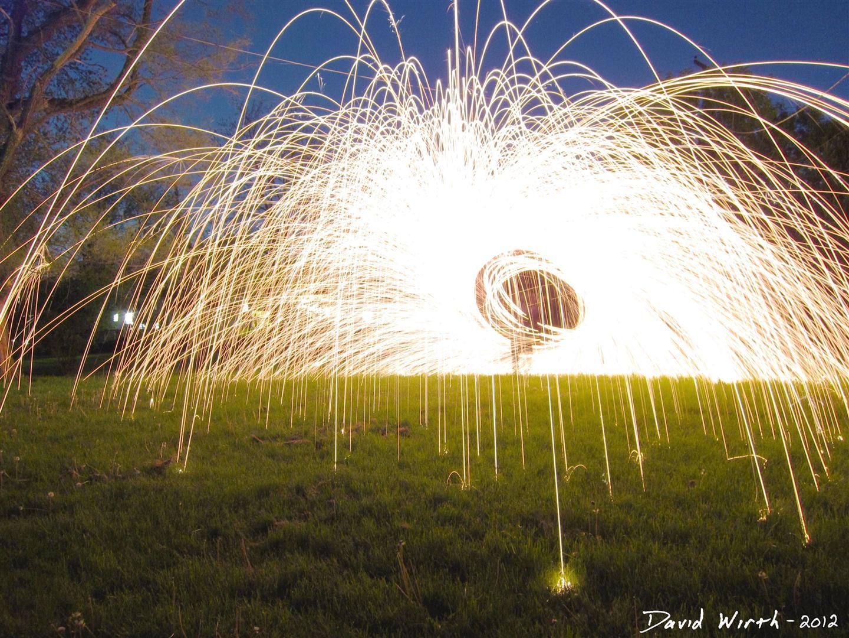 spinning wool, steel wool, long exposure photography