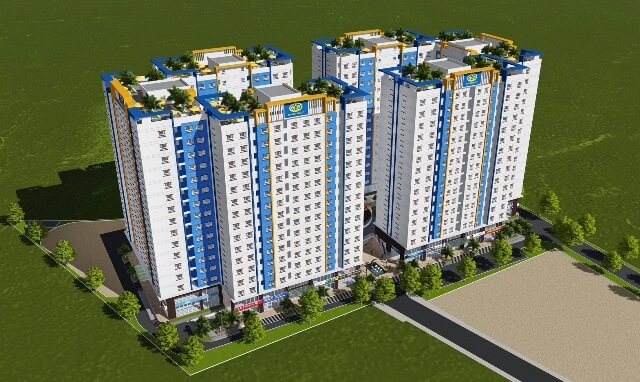 Phối cảnh Khối nhà chung cư Dự án Nhà ở xã hội HOF-HQC Hồ Học Lãm