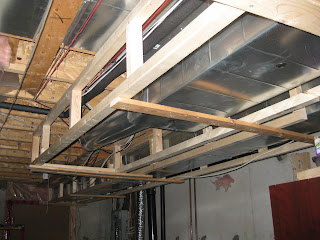 basement project march 27 28 ductwork framing started