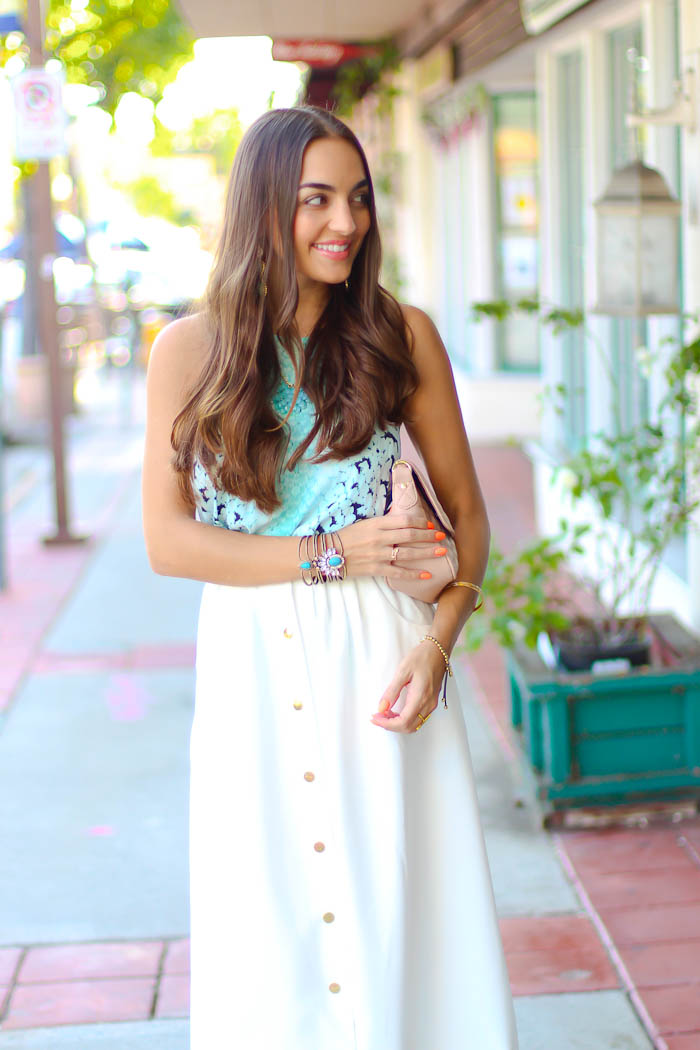 bardot top, white midi skirt, carlo pazolini pumps, pink nudes, samantha wills bangle