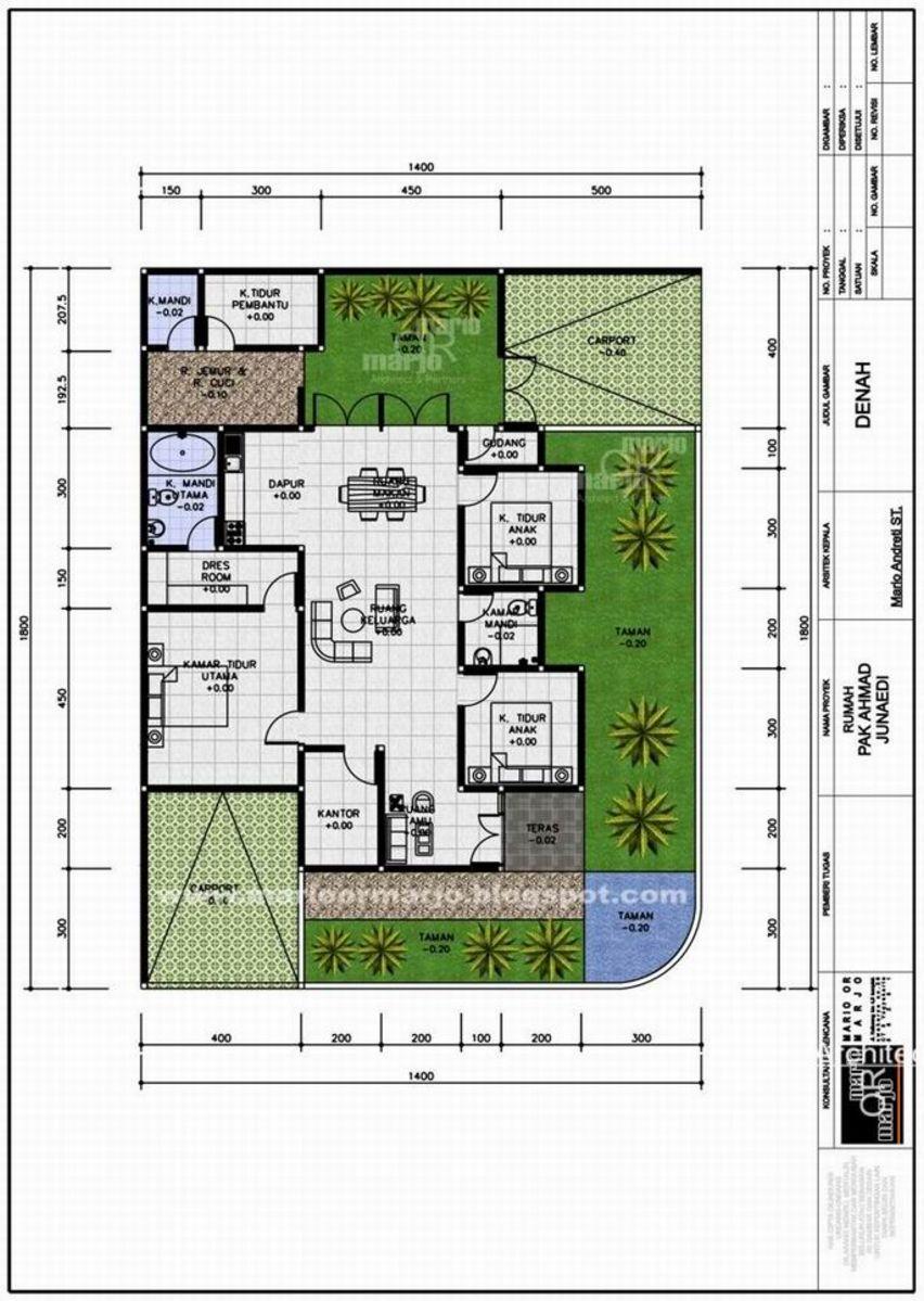 desain denah rumah 4 kamar tidur terbaru
