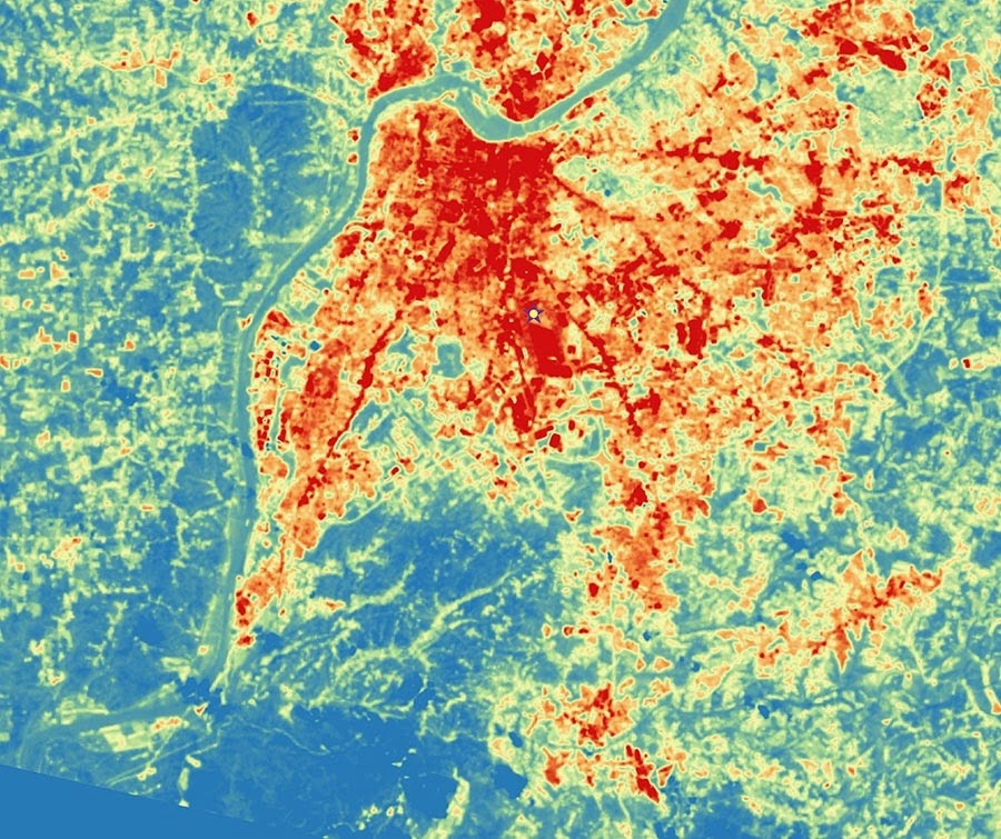 Urban heat measured by satellite in Louisville, Ky.  (Credit: NASA) Click to enlarge.