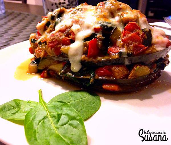 Falsa musaka o moussaka de at n con verduras receta baja for Cocinar berenjenas facil