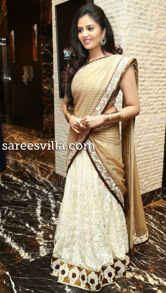 Sri Mukhi in designer half saree