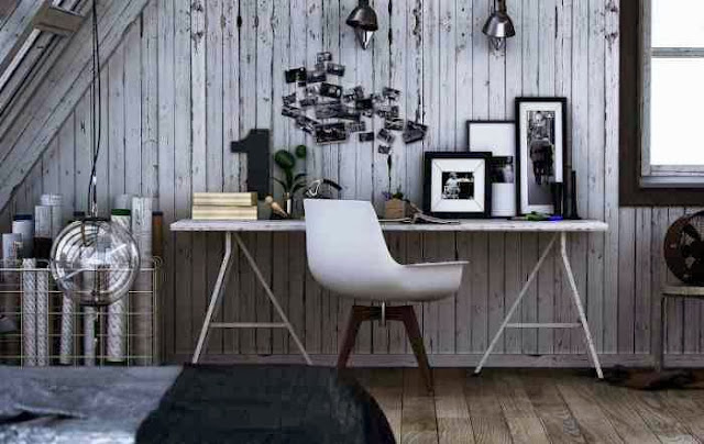 Białe biurko, oryginalne krzesło - ciekawa aranzacja miejsca pracy