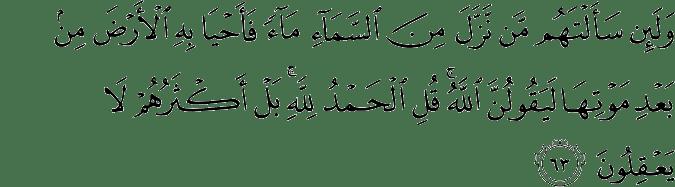 Surat Al 'Ankabut Ayat 63