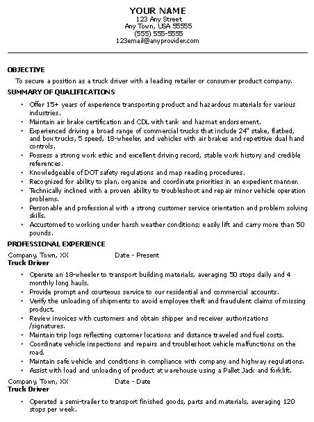 resume samples  hazmat driver resume