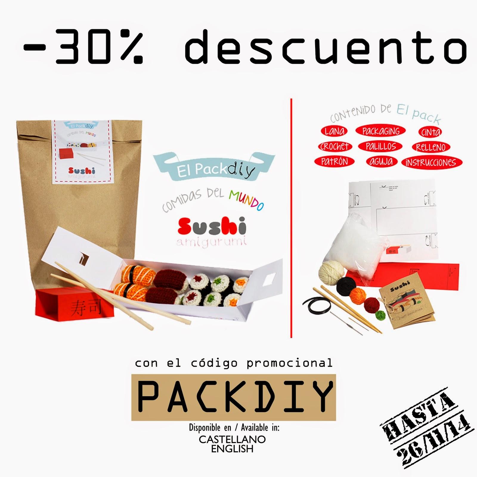 kit DIY amigurumi ganchillo crochet sushi handmade hechoamano pack hazlo tu mismo