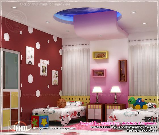 Beautiful home interior designs by green arch kerala for Children bedroom designs india