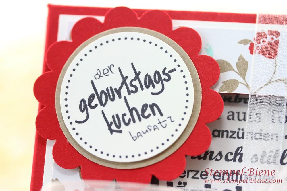 Geburtstagskuchenbausatz, Geldgeschenk zum 80. Geburtstag, Stempel-biene, Stampin' Up Bestellen, Stempelparty buchen