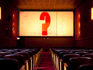 cinema screen with question mark