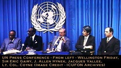 UN Press Conference - From left - Wellington Friday, Sir Eric Gairy, J. Allen Hynek, Jacques Vallee, Lt. Col. Coyne (Image Credit - ICUFON Archives)<br />