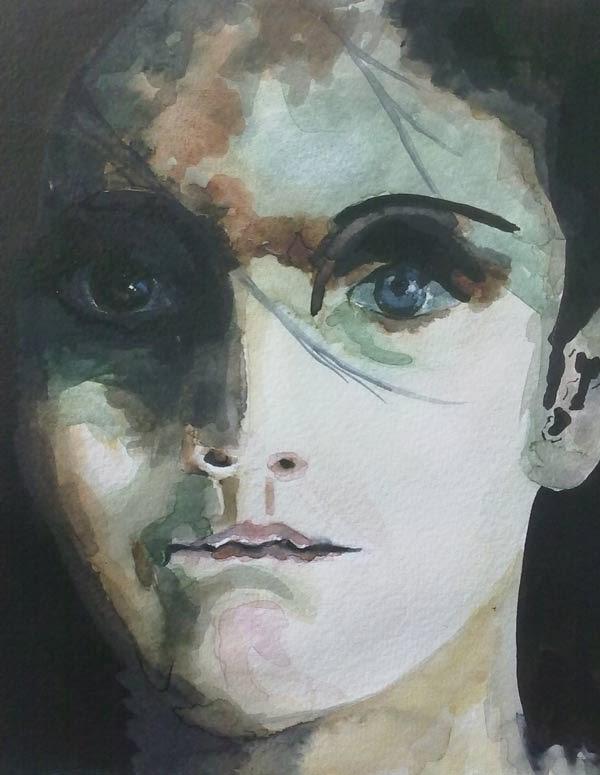 retrato de una joven en tinta y acuarela