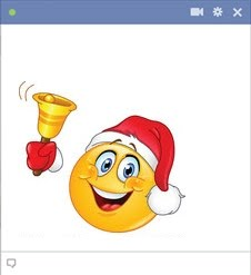 Facebook smiley ringing a Christmas bell