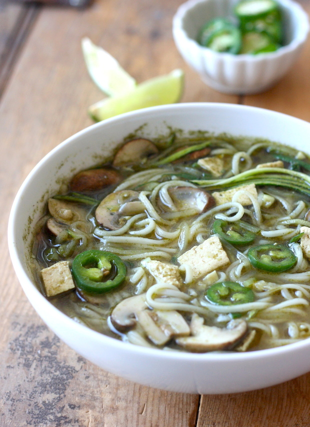 Thai Noodle Soup Recipe with Tofu, Mushroom & Zucchini by SeasonWithSpice.com
