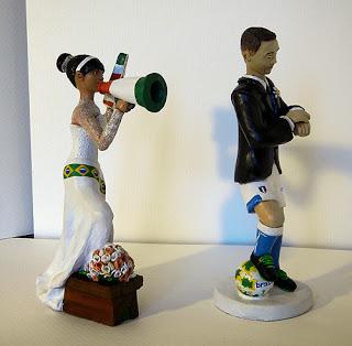 statuine sposi sportivi sposa fan cake topper personalizzati orme magiche