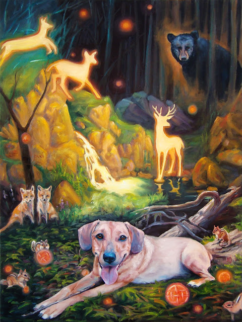 oil painting of spirited dog in fantasy woodlawn scene
