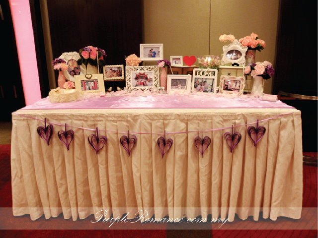 Photo Display Table Decoration, heart garlands, KL, 婚礼装饰服务, Selangor, Sheraton Imperial Kuala lumpur hotel, flower, photo frames, pearls