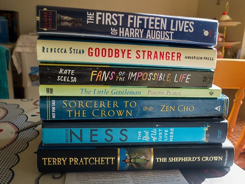 The Shepherd's Crown by Terry Pratchett, The Rest of us Just Live Here by Patrick Ness, Sorcerer to the Crown by Zen Cho, The Little Gentleman by Philippa Pearce, Fans of the Impossible Life by Kate Scelsa, Goodbye Stanger by Rebecca Stead, The First Fifteen Lives of Harry August by Claire North