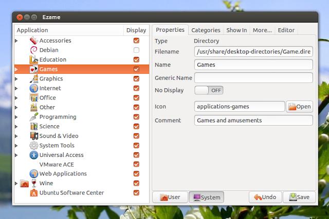Ezame -- Ubuntu Unity 桌面選單編輯工具