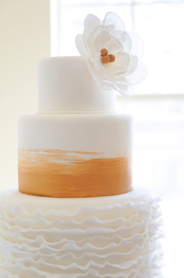 Sugary & Buttery - DIY Gold & Ruffle Wedding Cake