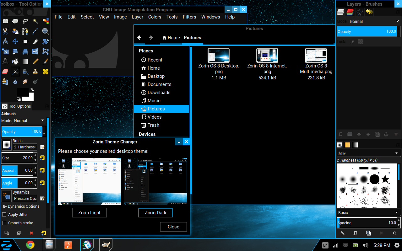 gimp file manager and zorin theme changer with dark theme in zorin os 8 core