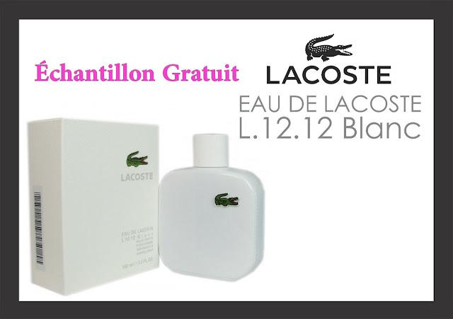 échantillon gratuit Parfum Lacoste L.12.12 Blanc !