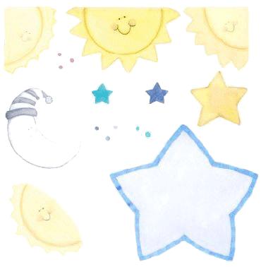 Dibujos infantiles de sol lunas y estrellas