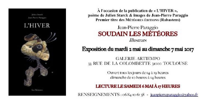 CARTON INVITATION EXPOSITION SOUDAIN LES MÉTÉORES Jean-Pierre PARAGGIO