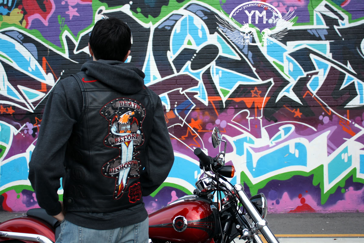 Ed Hardy Death Before Dishonor Motorcycle Vest Review Pic by YouMotorcycle.com
