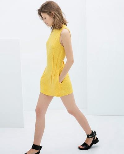zara mini sarı elbise, kısa elbise, yazlık elbise, cepli elbise