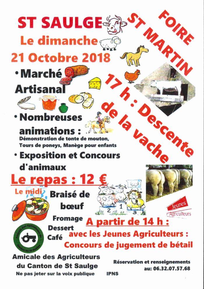 Foire St Martin le 21 octobre à St saugle