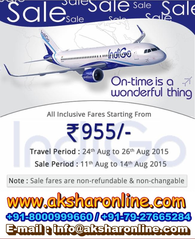 Indigo Sale....Book Now aksharonline.com