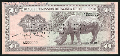 Currency of Rwanda-Burundi 500 Francs Rhinoceros