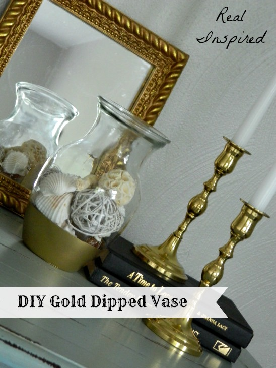 diy gold dipped vase