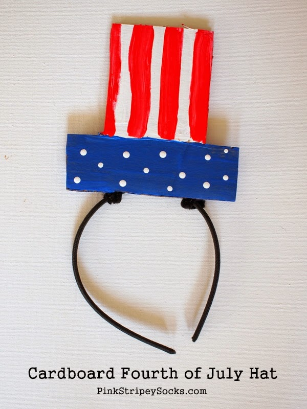 Make a flat cardboard Fourth of July Hat with Kids